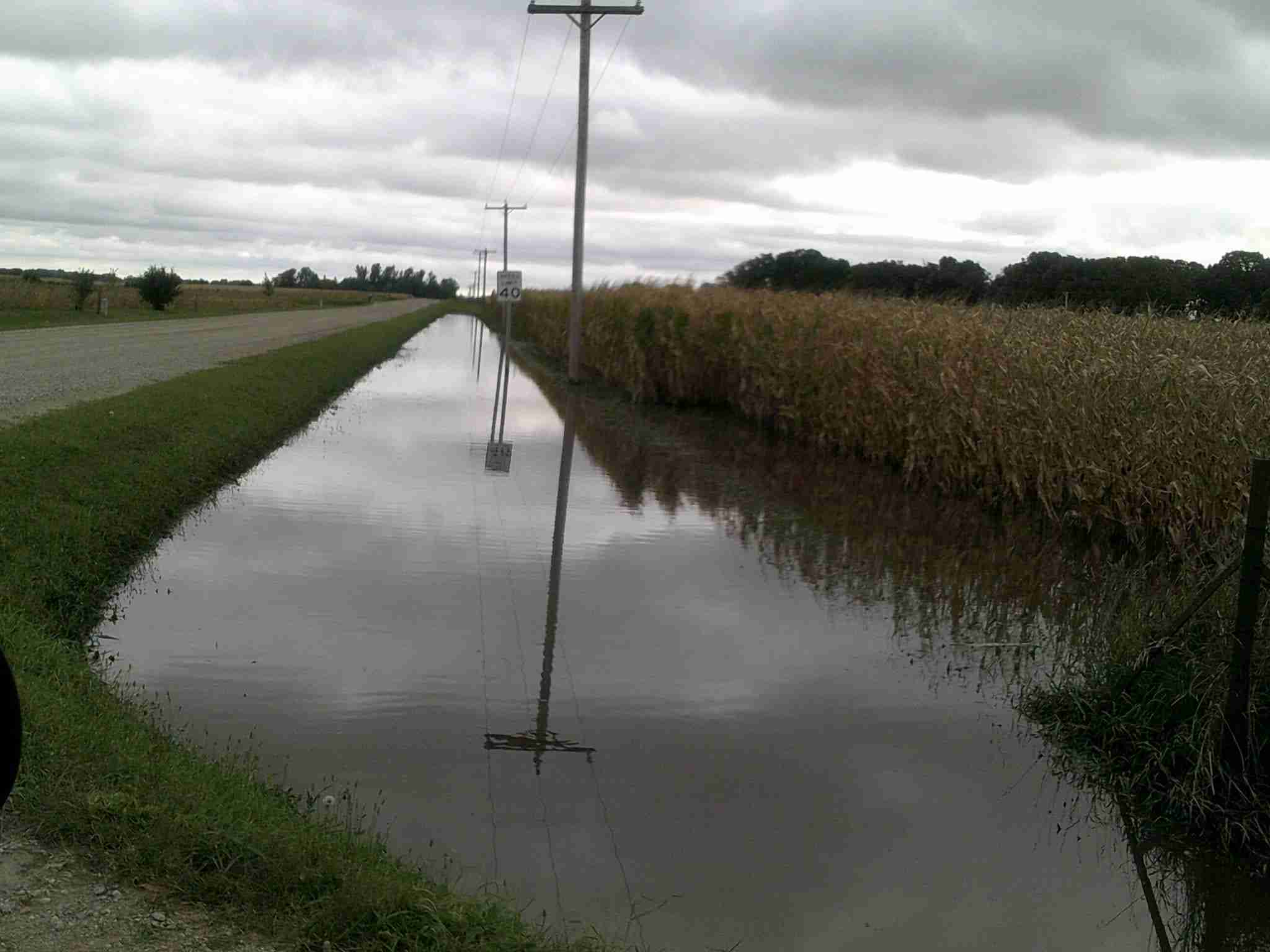 Drainage ditches in Winnebago County are overflowing.