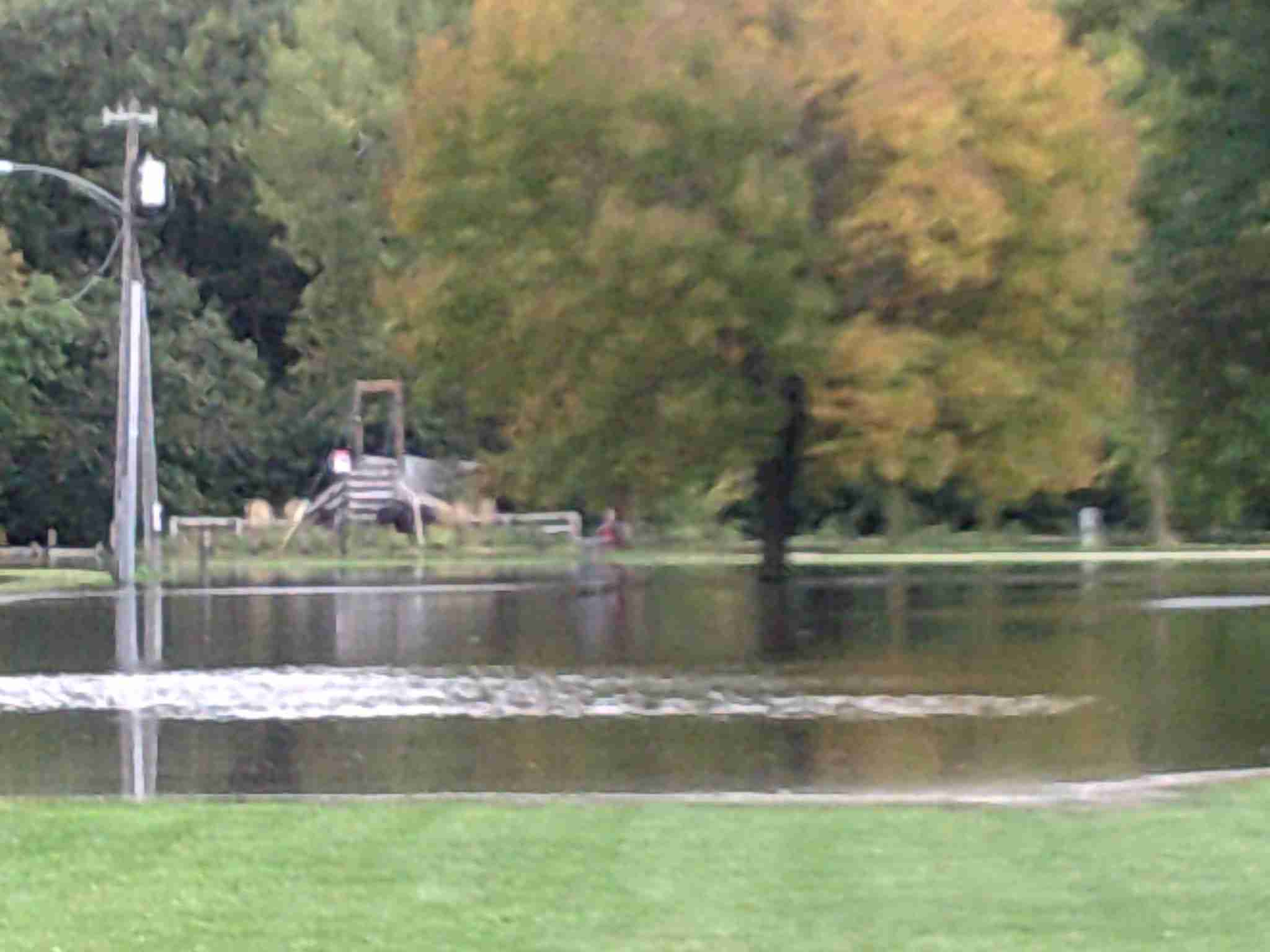 The bridge over the Winnebago in Forest City now sees the river around it.